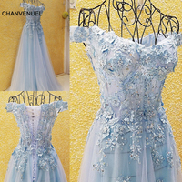 LS54701 Prom Dresses Cheap Light Blue Pink Off The Shoulder Appliqued Lace Corset Back Tulle Anrobe