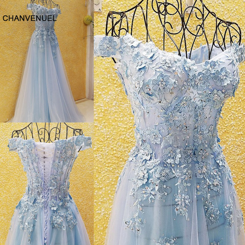 LS54701 prom dresses cheap light blue pink off the shoulder appliqued lace corset back tulle anrobe longue femme soiree mariage