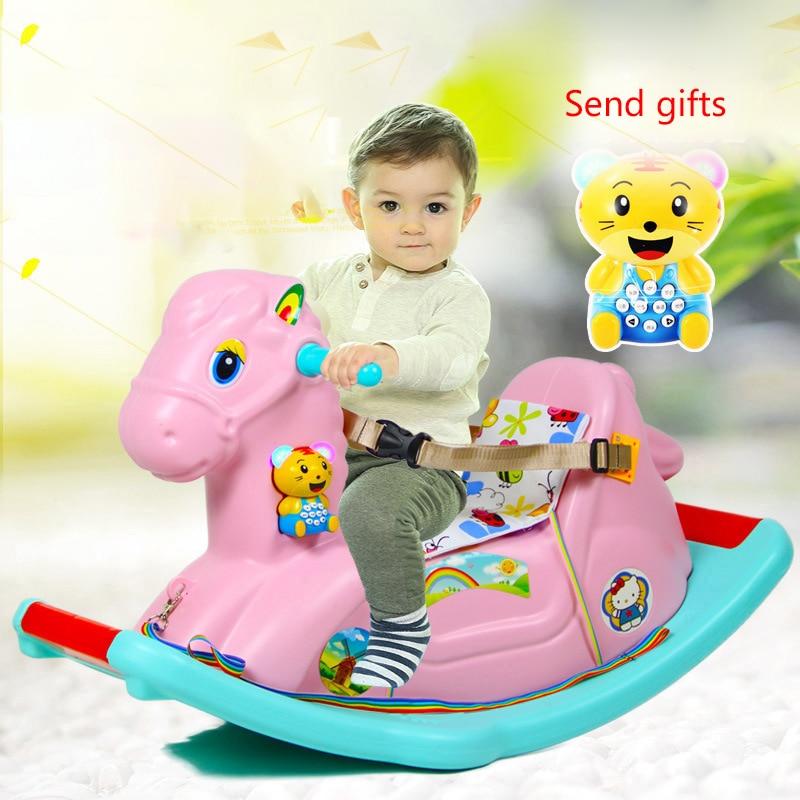 Cheval à bascule pour enfants bébé chaise à bascule monter sur des jouets avec de la musique 1-6 ans bébé cadeau d'anniversaire bébé pull