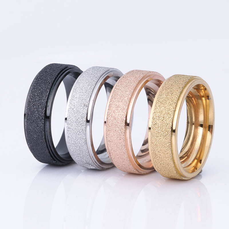 1PC Hot Men Women Lovers Rings Jewelry Wedding Band Rose Gold Silver Frosted Stainless Stell Ring