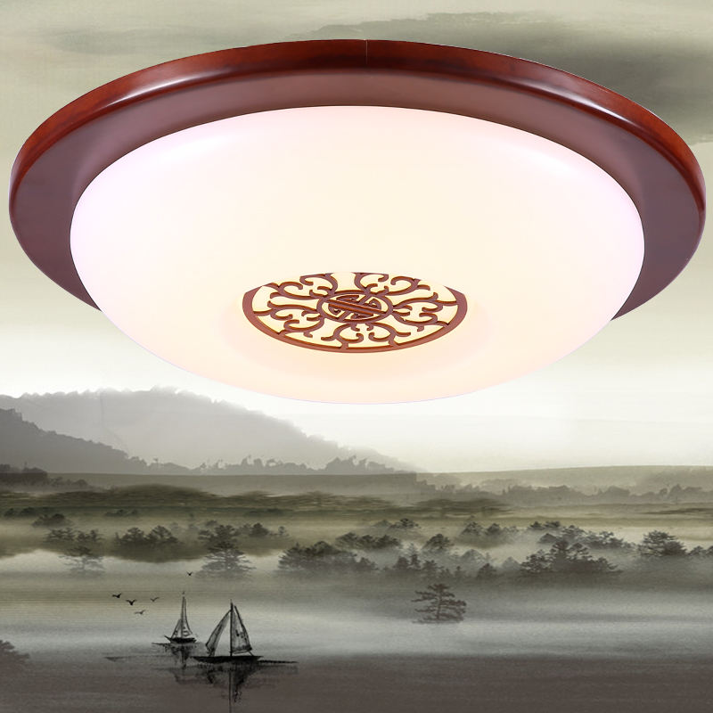 Chinese wood circular led ceiling lamps art acrylic modern minimalist bedroom study decorated living room Ceiling Lights ZA chinese style wooden led circular ceiling lamps real wood art acrylic bedroom study decorated living room ceiling lights za zs45
