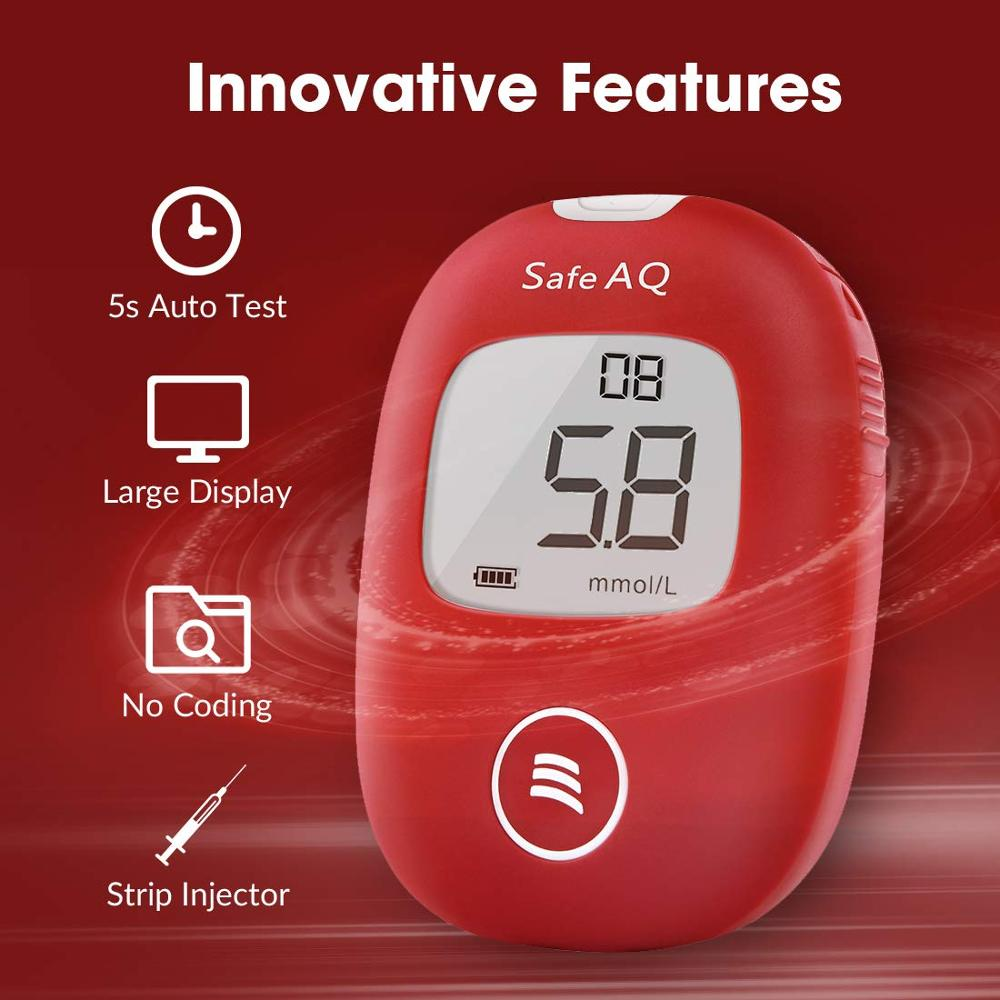 Sinocare Safe AQ Smart mg/dL mmol/L Blood Glucose Meter Diabetes Glucometer Kit &Test Strips Lancets painless Blood Sugar Tester 2