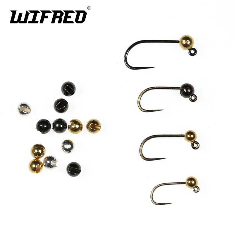 Wifreo 20PCS Slotted Tungsten Beads 2.5mm 3mm Gold Silver Black Jig Nymph Fly Tying Material wifreo 5pcs natural color black white dot plume feather fly tying wing tail material 13 16cm length