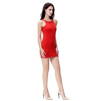 a9bbae5e9 Las mujeres Sexy vestidos de deslizamiento de la correa sin mangas o cuello  de Color sólido elástico vestido Bodycon Mini vestido tamaño S-2XL