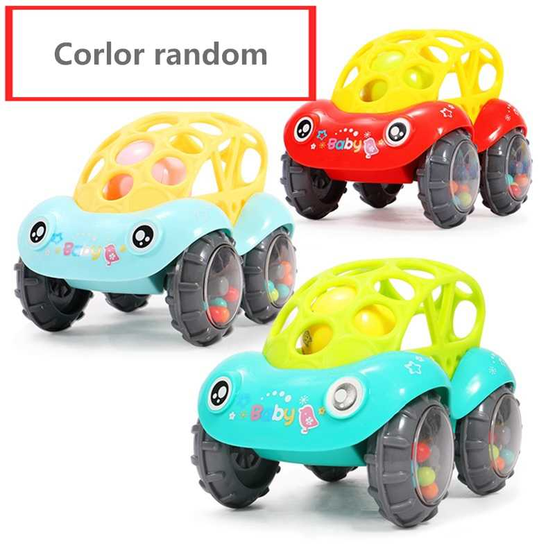 Baby Plastic Non-toxic Colorful Animals Hand Jingle Shaking Bell Car baby Rattles Toys Music Handbell for Kids Color Random