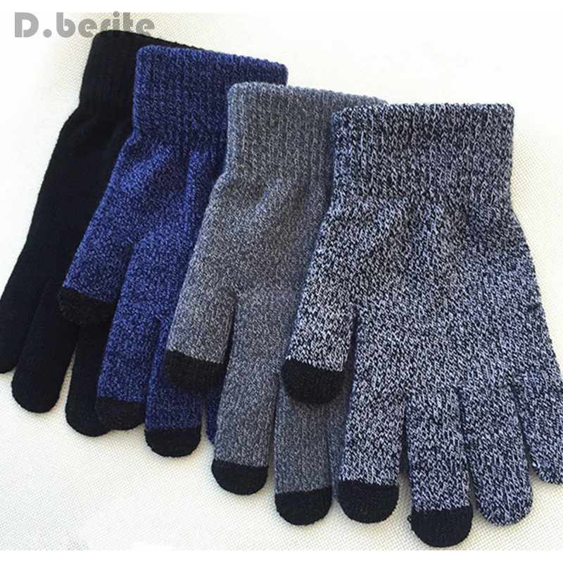 Men Women Gift Winter Warm Fashion Fleece Lined Thermal Knitted Smartphone Mobile Phone Driving Touch Screen Gloves XLZ9075