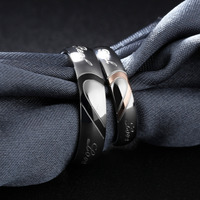 316L Stainless Steel Silver Half Heart Simple Circle Real Love Couple Ring 4