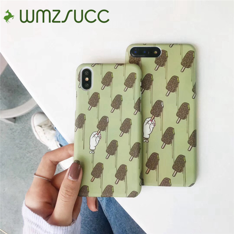 WMZSUCC Summer Matcha Green Chocolate Icecream Harf Wrapped PC Hard Phone Case For iPhone X 6 8/ 6S 7 Plus