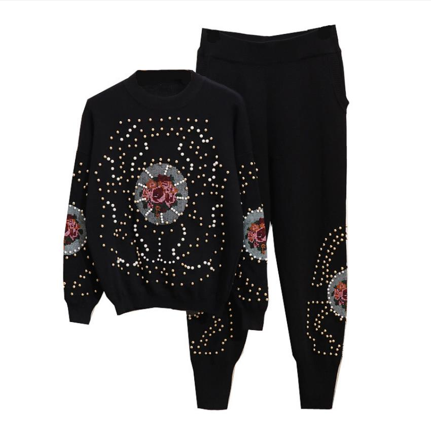 Fashion Brand Diamond Beading Suits Female Woolen Warm Knit Sweaters + Rivet Beading Knit Pants Two Pieces Sets Wq2384 Factory