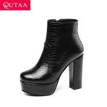 QUTAA 2020 Platform PU Leather Ankle Boots Round Toe Warm Fur Winter Women