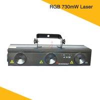 Горячая Распродажа! 730 mw лазерный свет RGB Вращающийся проектор звезд DMX Управление клубной сцене DJ вечерние Show
