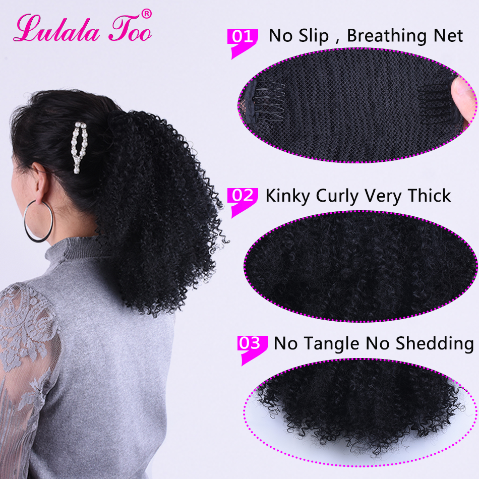 Deal╛Hairpiece Ponytail Chignon Synthetic-Hair-Bun Afro-Puff Kinky-Curly Drawstring Clip-In