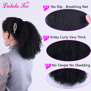 Image 4 - Drawstring Afro Puff Kinky Curly Ponytail Wig Synthetic Hair Bun and Bang Set  For Women Pony Tail Clip in Hair Extension