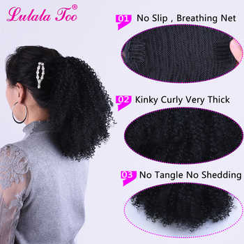 Drawstring Afro Puff Kinky Curly Ponytail Wig Synthetic Hair Bun and Bang Set For Women Pony Tail Clip in Hair Extension