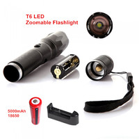Hot Sale Rechargeable T6 LED 2000LM Zoomable Focus LED Flashlight 5 Modes Flash Torch Lamp Lanterna