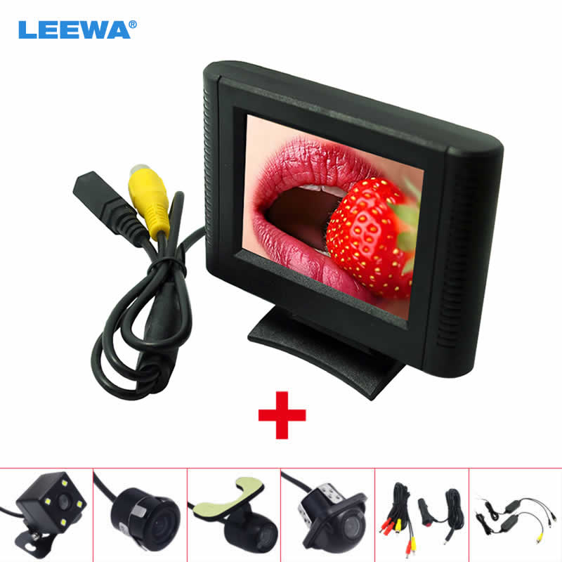 LEEWA 2.5 Inch LCD TFT Monitor With Rear View Parking Camera RCA Video System 2.4G Wireless & Cigarette Lighter Optional
