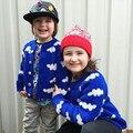 Nuevo patrón de nubes de dibujos animados los niños suéter cardigan géneros de punto del suéter de los bebés niños ropa de manga larga para niño outwear Choses
