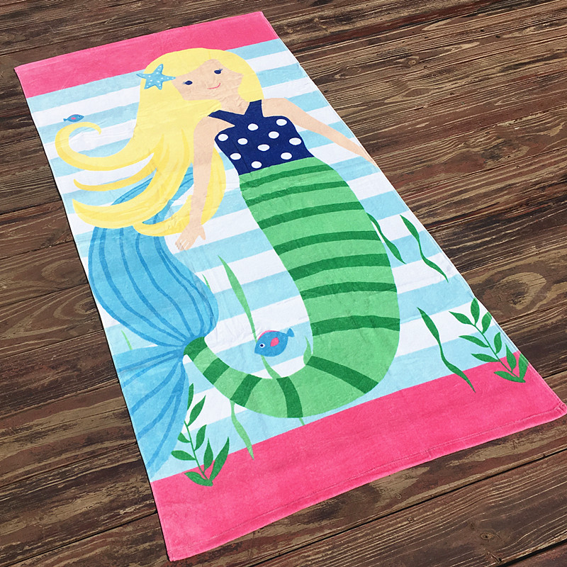 160X80cm yellow or brown hair mermaid print thicken bath towel no formaldehyde children adult 100 cotton velvet beach towel T5 in Bath Towels from Home Garden