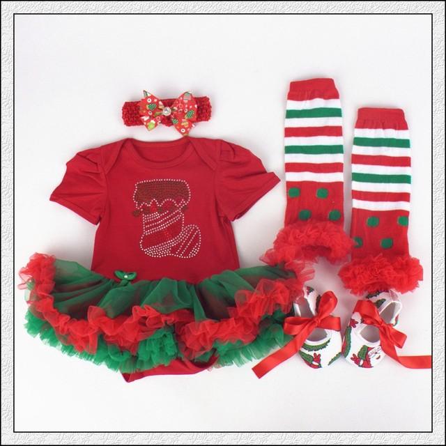 4 Unids por Juego Traje de Navidad Rhinestone Diadema Zapatos Calcetines Del Bebé Muchachas Del Vestido Del Tutú Leggings para 0-12months Envío Libre