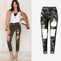 New Fashion High Waist Ripped Jeans Women Cool Camouflage Color Big Hole Slim Ankle-length Straight Pants Jeans Trousers P45