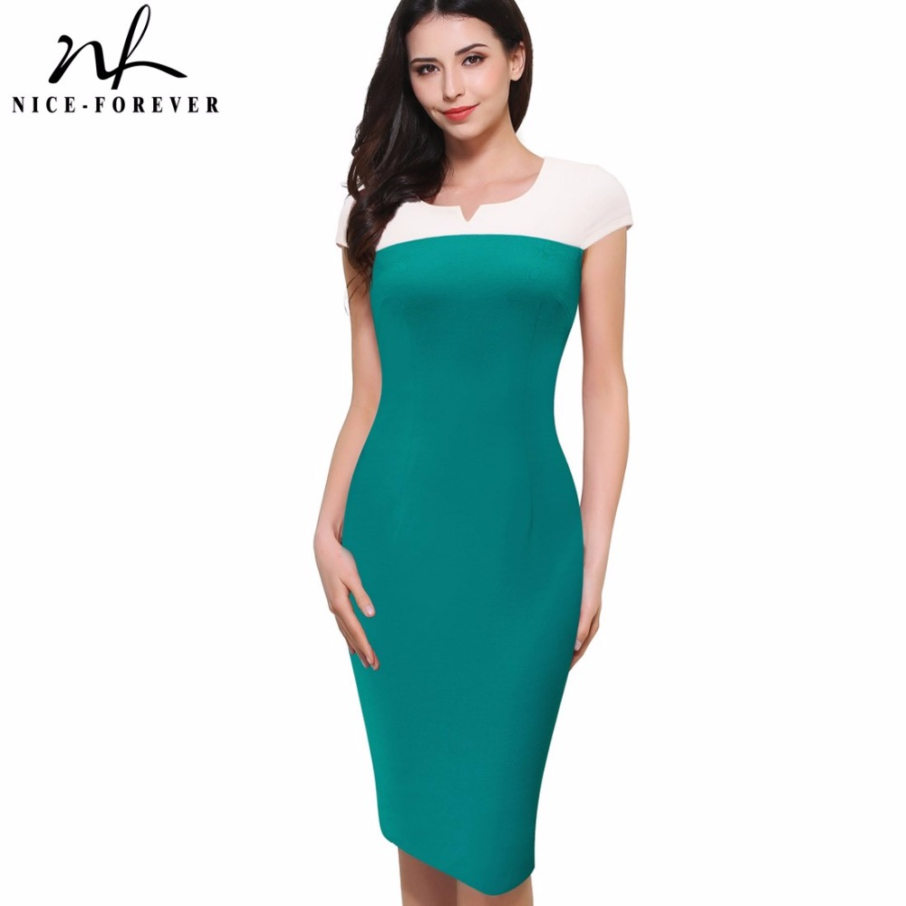 Nice-forever Summer Vintage Color block Wear to Work Cap Sleeve O-Neck Bodycon Slim Women Office Business Pencil Dress B393