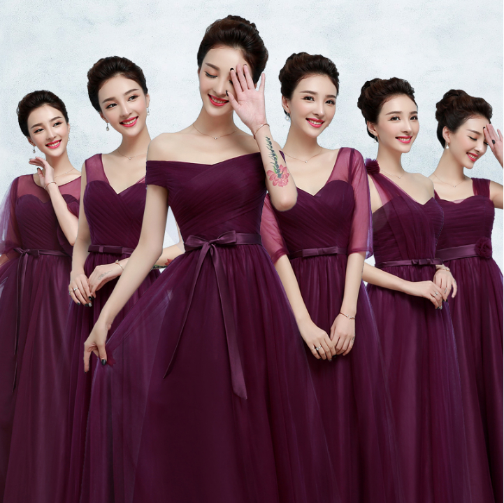 Y Long Elegant S Bridesmaid Dress Women Size Bride Maid Dresses Deep Purple 2017 Tulle Ball Gown For Weddings R3832 In From