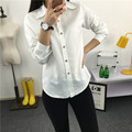 Modal Más Tamaño Promoción Limitada Botón Regular Sólido Lycra Mujeres Tops Blusas de manga larga Camisa de Las Señoras Blusas de Corea Del Ventilador