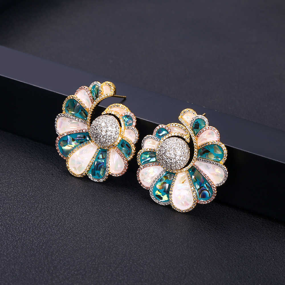 jankelly Fashion Cubic Zirconia FLOWER Stud Earring For Women Jewelry Wedding Brincos boucle d'oreille
