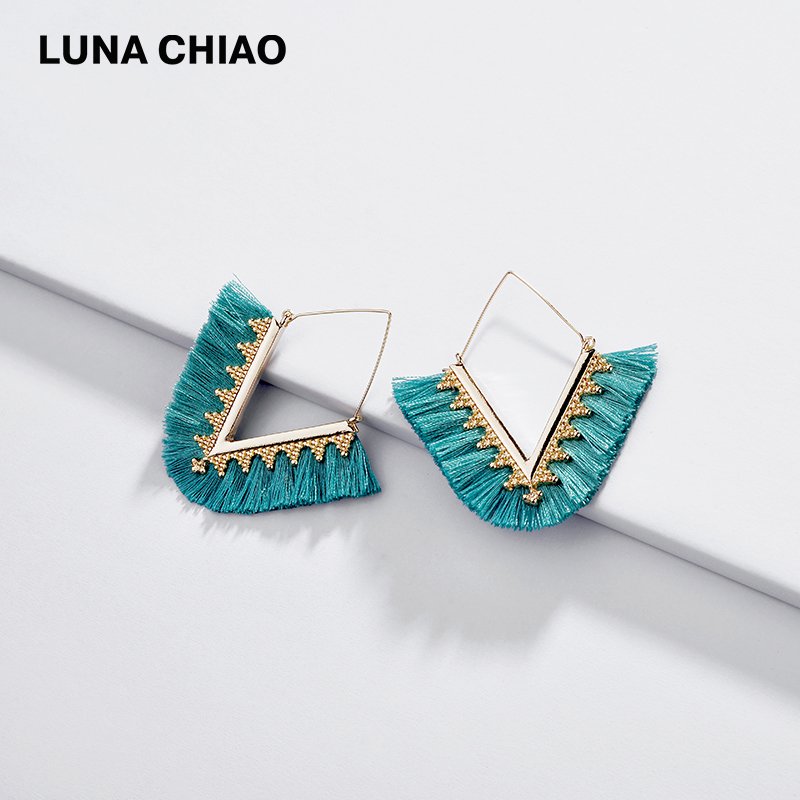 LUNA CHIAO 2019 New Trendy V Shape Fringed Tassel Drop Earring For Women Big Statement Dangle Earrings