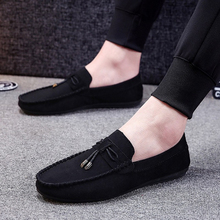 Men Casual Shoes Fashion Male Shoes Suede Soft Men Loafers Leisure Moccasins Slip On Men's Driving Shoes Black Red Man Lazy Shoe mwsc male casual leather loafer shoes men fashion chaussure homme lazy slip on driving shoes blue red black zapatos