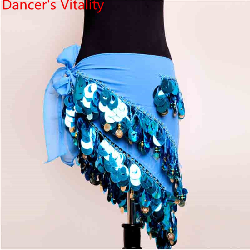 Women Belly Dance Costume Hip Scarf Sequin Tassel Waist Chain Oriental Indian Dance Belt Competition Performance Accessories