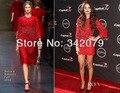 Ph12047 Selena Gomez vestido de tres cuartos de manga de encaje rojo con detalles espárragos-embellecidos selena gomez dress