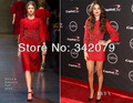 ph12047 Selena Gomez three-quarter-sleeve red lace dress with embellished details selena gomez dress