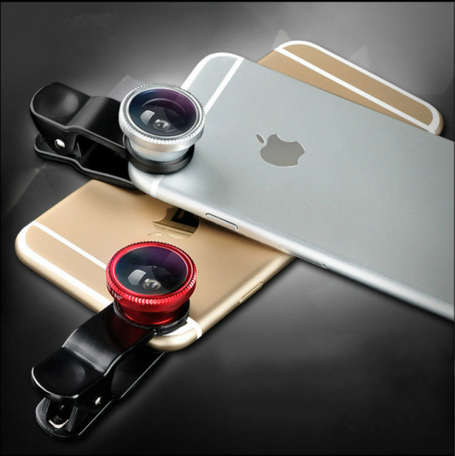 Fisheye Lens 3 in 1 Mobile Phone Clip Lenses Fish Eye Wide Angle Macro Camera Lens for iPhone 7 6s Plus 5s Xiaomi Redmi 3 Huawei