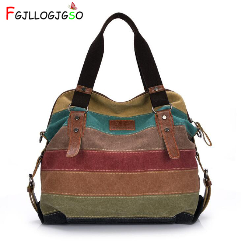 FGJLLOGJGSO Fashion Canvas Bag Brand Women Handbag Patchwork Casual Women Shoulder Bags Female Messenger Bag Rainbow Purse Pouch