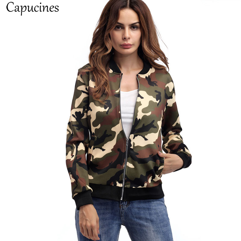 2018 Women Fashion Camouflage Printed   Jackets   Autumn Pocket Long Sleeves Coats Casual Outwear Zipper Bomber   Basic     Jacket