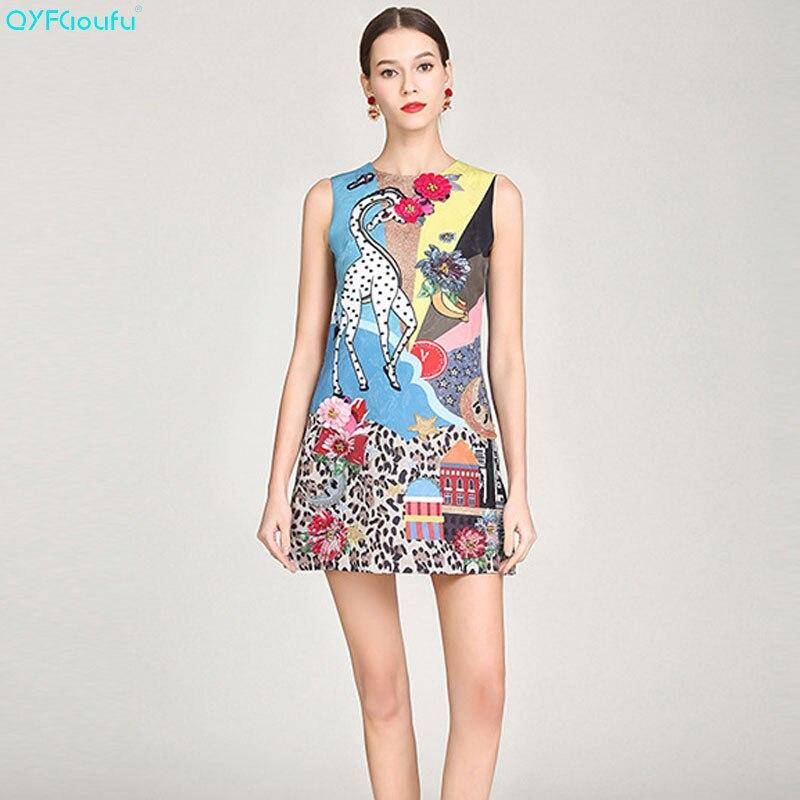 QYFCIOUFU 2019 été femmes imprimé Animal robe courte tenue de club robe de piste mode perles sans manches bleu Sexy robes