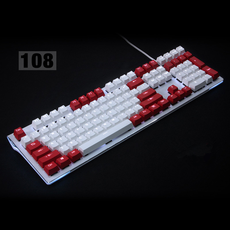 цена на Backlit 108 ANSI ISO layout Thick PBT Keycap Double shot Backlight Keycaps For OEM Cherry MX Switches Mechanical Gaming Keyboard