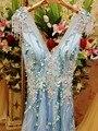 A personalização avançada de final de luxo cristal vestido de noite cinza um line Sexy V Pescoço Longo Vestido de Festa Robe De Soirée Longue 2016
