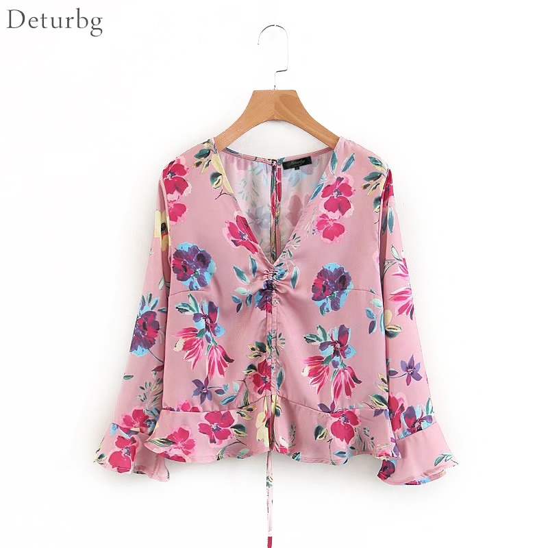 Radient Lady Floral Printed Long Sleeve Mock Neck Blouse Autumn Holiday Beach Casual New Women's Clothing