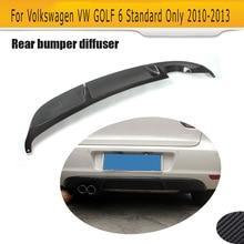 Диффузор, губа на задний бампер для Volkswagen Golf VI MK6 6 стандартный бампер без GTI 2010-2013 углеродное волокно Синг Exchaust два выхода