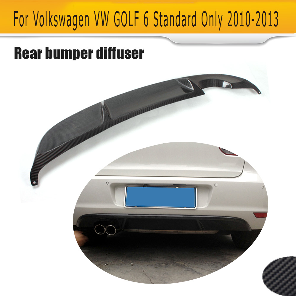 цена на Carbon fiber car Rear Bumper Lip Diffuser Spoiler for Volkswagen VW Golf VI MK6 6 Standard bumper 2010 2011 2012 2013