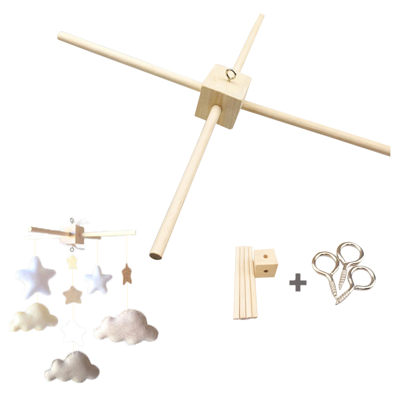 1Set Mobile <font><b>Baby</b></font> Hanger <font><b>Baby</b></font> Mobile <font><b>Crib</b></font> Hanger Frame Mobile DIY Crafts Frame Mobile <font><b>Holder</b></font> Wood Newborn <font><b>Toy</b></font> Children'S Goods image