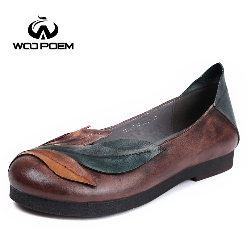WooPoem Brand Ethnic Shoes Woman Retro Handmade Genuine Leather Flats Shoes Slip-On Low Heel Soft Rubber Sole Women Shoes A11Y19 france tigergrip waterproof work safety shoes woman and man soft sole rubber kitchen sea food shop non slip chef shoes cover