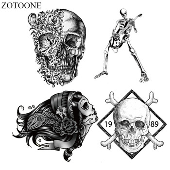 ZOTOONE Heat Transfer Sticker Vinyl Punk Rock Skull Patch Iron On Transfers For Clothing Patches Applique Badge Decal Washable E