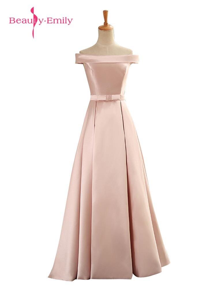Beauty-Emily Elegant Long Cheap Pink Red   Evening     Dresses   2019 Women Boat Neck Formal Party Prom   Dresses   Robe De Soiree 2019