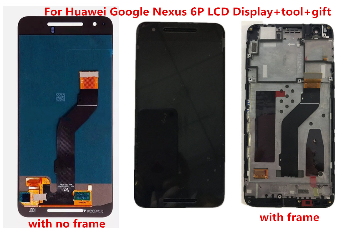 Gift+LCD Display Touch Screen Digitizer Glass + Frame Assembly Black for Huawei Google Nexus 6P H1511 H1512 Replacement Part