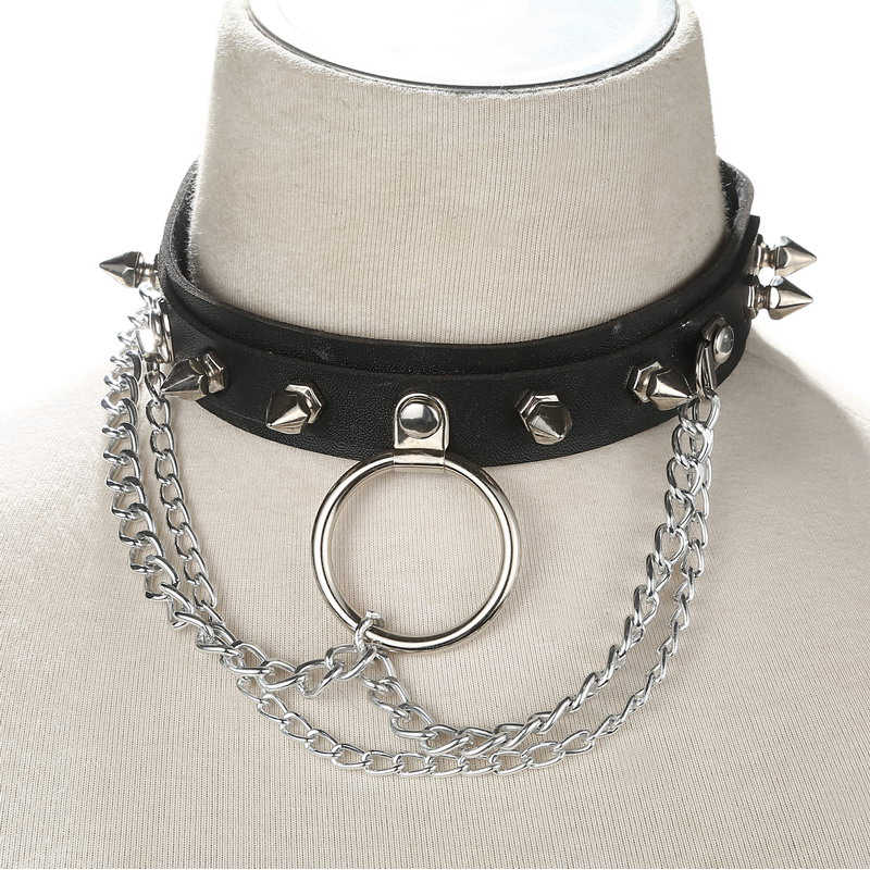 Black Spike choker collar women/men punk Vegan Leather Choker Emo Metal Spiked Studded harajuku chocker collar gothic jewelry