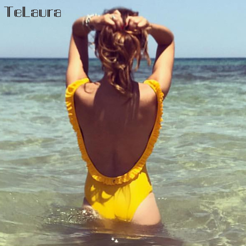 2018 Sexy Ruffle One Piece Swimsuit Women Swimwear Push Up Monokini Backless Swim Suit Bodysuit Bathing Suit Beach Wear Female 2018 new one piece swimsuit women swimwear retro bathing suit vintage monokini plus size swimwear female bodysuit beach wear xxl