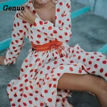 цена Genuo Plus Size Women Deep V-neck Boho Dress Long Sleeve Dot Print  Long Maxi Dress Casual Summer Beach Party Holidays Sundress